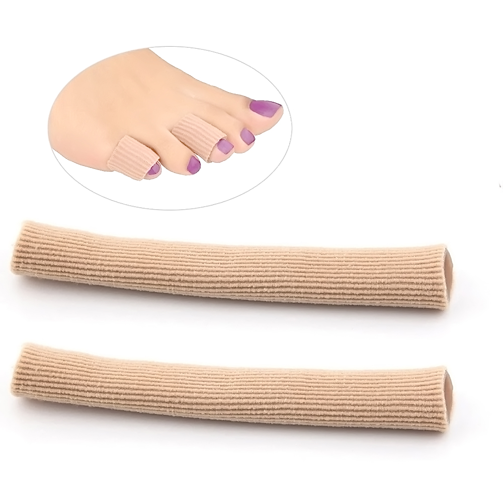 2 PCS Gel Fabric Toes Tube Protectors Finger Toe Separator Silicone Fingers Toes Corrector Fabric Gel Tube Toe Protector 2 Sizes