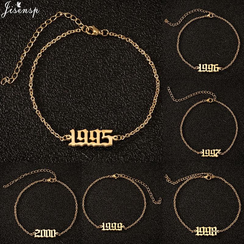 Jisensp Unique Year Number Anklets Leg Bracelet for Women Special Date Wedding Jewelry 1980-2000 Ankle Bracelet Birthday Gift