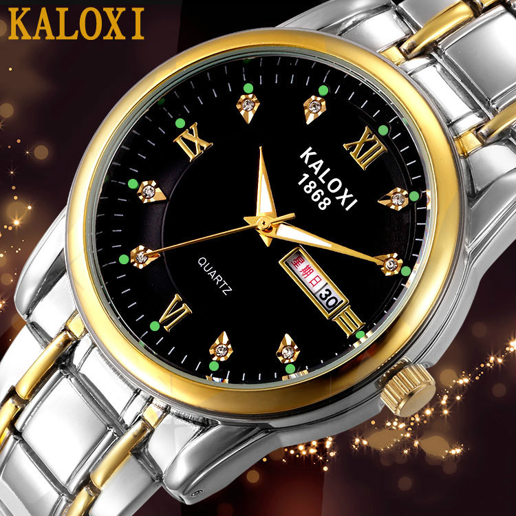 Couple Watches For Lovers Quartz Wristwatch Fashion Business Men Watch For Women Watches Tungsten Steel Coffee Gold Hours KALOXI
