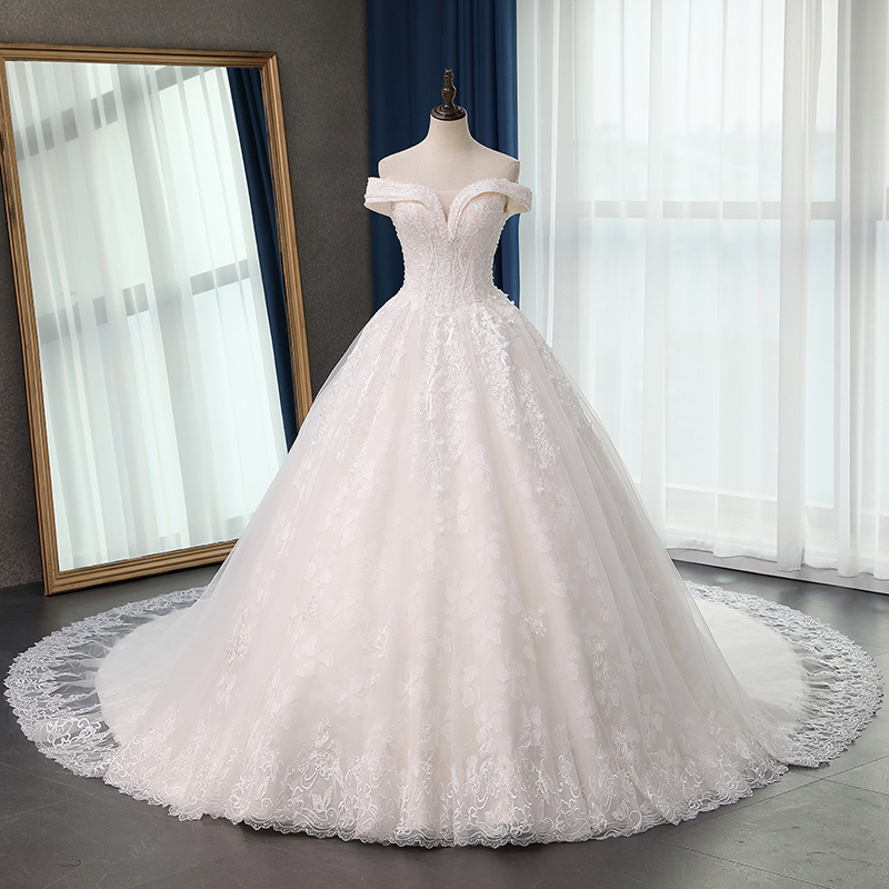 Fansmile Quality Long Train Vestido De Noiva Lace Wedding Dresses 2020 Plus Size Customized Wedding Gowns Bridal Dress FSM-070T