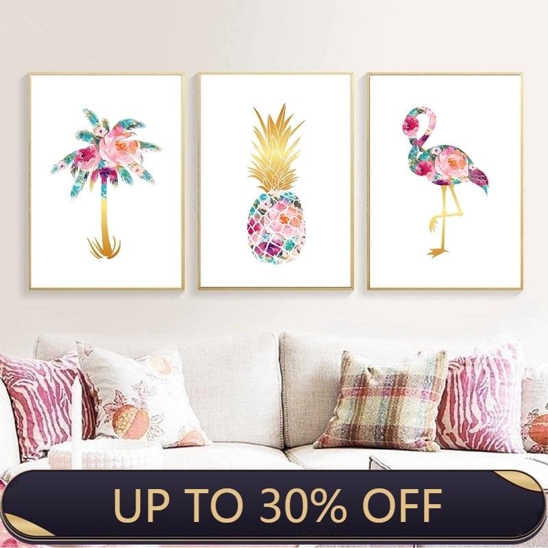 Palmier ananas flamant rose Art affiches et impressions fleurs abstraites Tropical voyage mur Art toile peinture décor à la maison