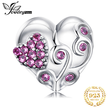 JewelryPalace Flower Heart 925 Sterling Silver Bead Charms Original For Bracelet original Jewelry Making