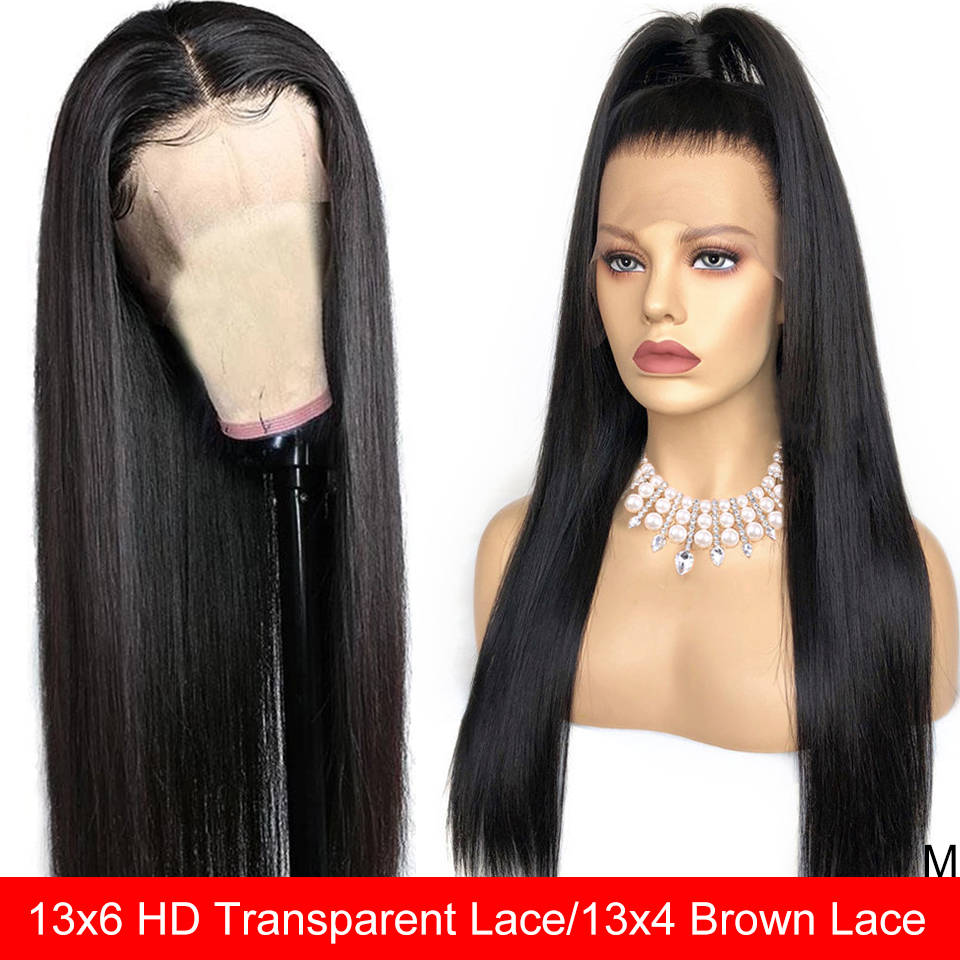 Maxine Wig 13x6 Human-Hair Lace-Frontal Remy Women Straight Transparent  title=