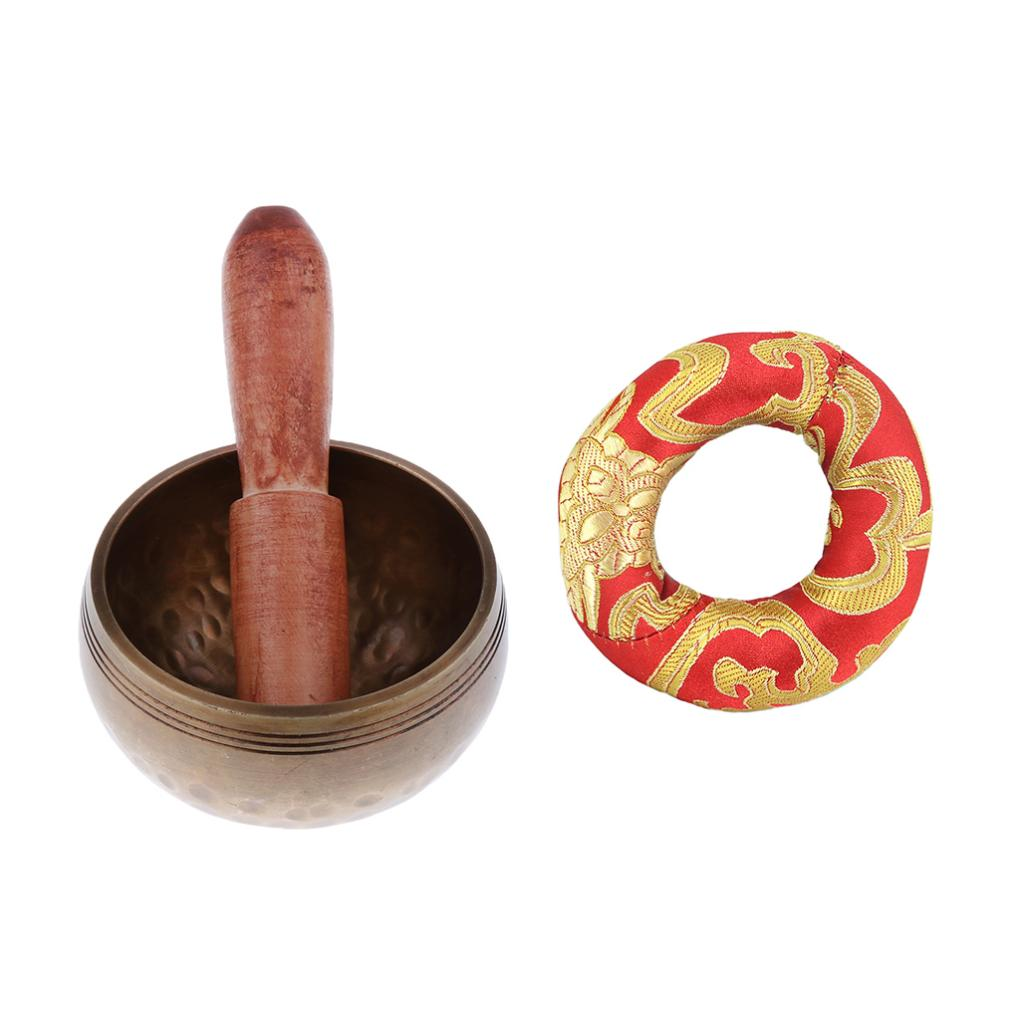 Tibetan Singing Bowl&Cushion Ring Pillow Set Meditation Tool Christmas Gift