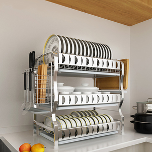 304 нержавеющая сталь сушилка для посуды сливная стойка для кухни трехслойная сушилка для посуды принадлежности для хранения посуды