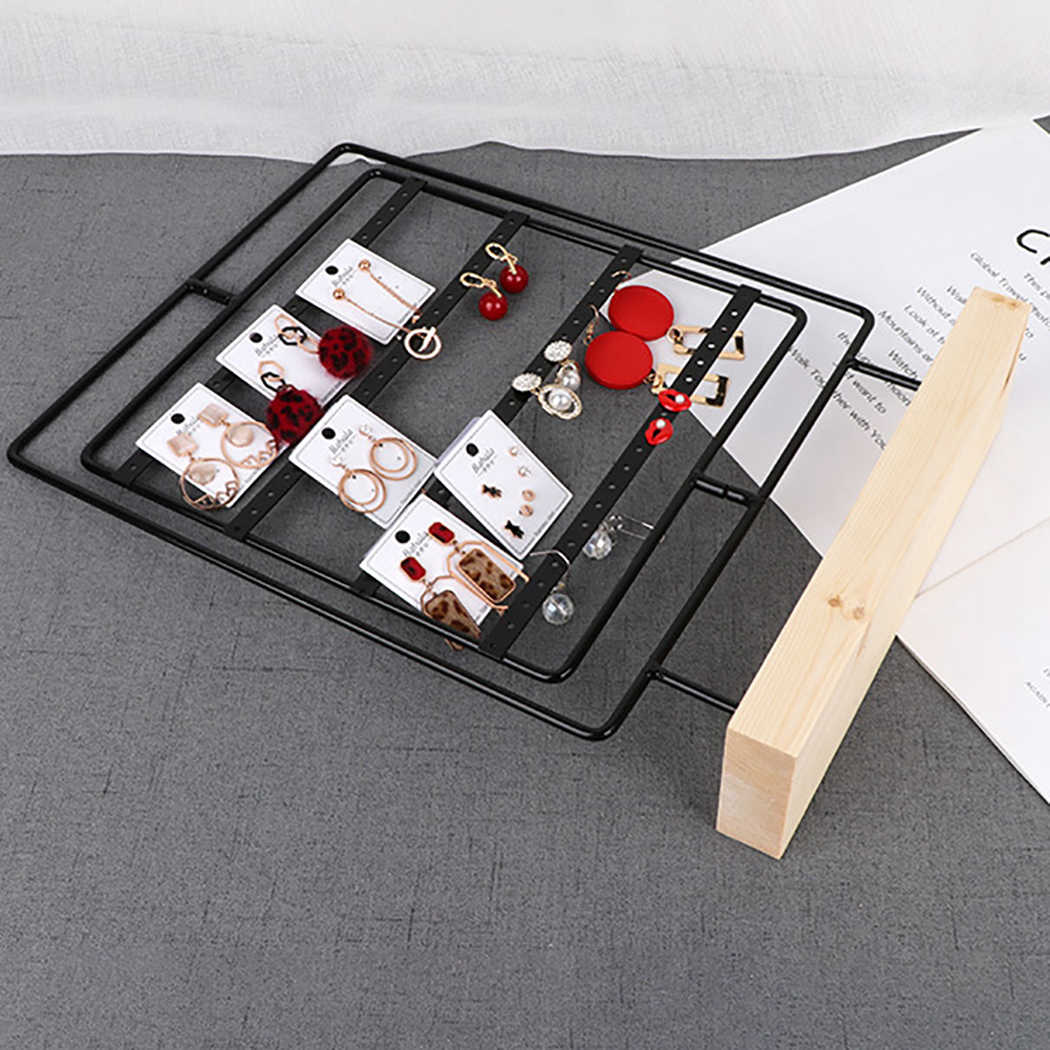 Rotatable Earring Holder Wooden Base Metal Earring Holder Jewelry Display 76-Hole Earring Stand Jewelry Hanger Display