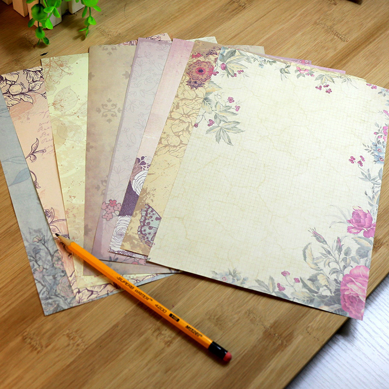 10PCS European Retro Flower Pattern Letter Paper Stationery Pad Drawing Sketch Letter Stationery Writing Paper Stationery
