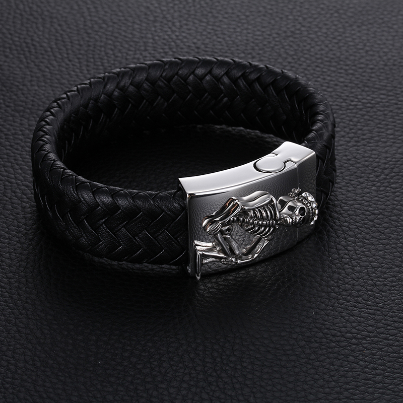 Leather Wide Wristband Men's Bracelet Stainless Steel Skull Prince