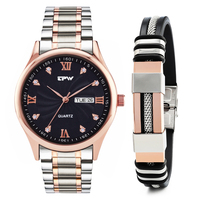 Men's Analog Quartz Watch Waterproof full stainless steel Strap GIFT SET for Man free steel silicone bangle rose gold