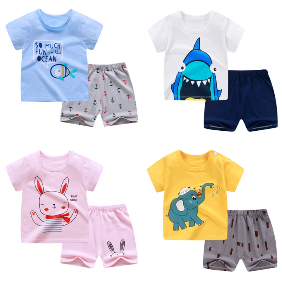 8m-8 years old baby clothes 8 pieces / set, summer, boys and girls short  sleeve T-shirt, pure cotton clothes set children set
