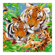 tiger mother and son animal Moge Diamond Painting Full Round New DIY sticking drill cross stitch 5D embroidery home decorative(China)