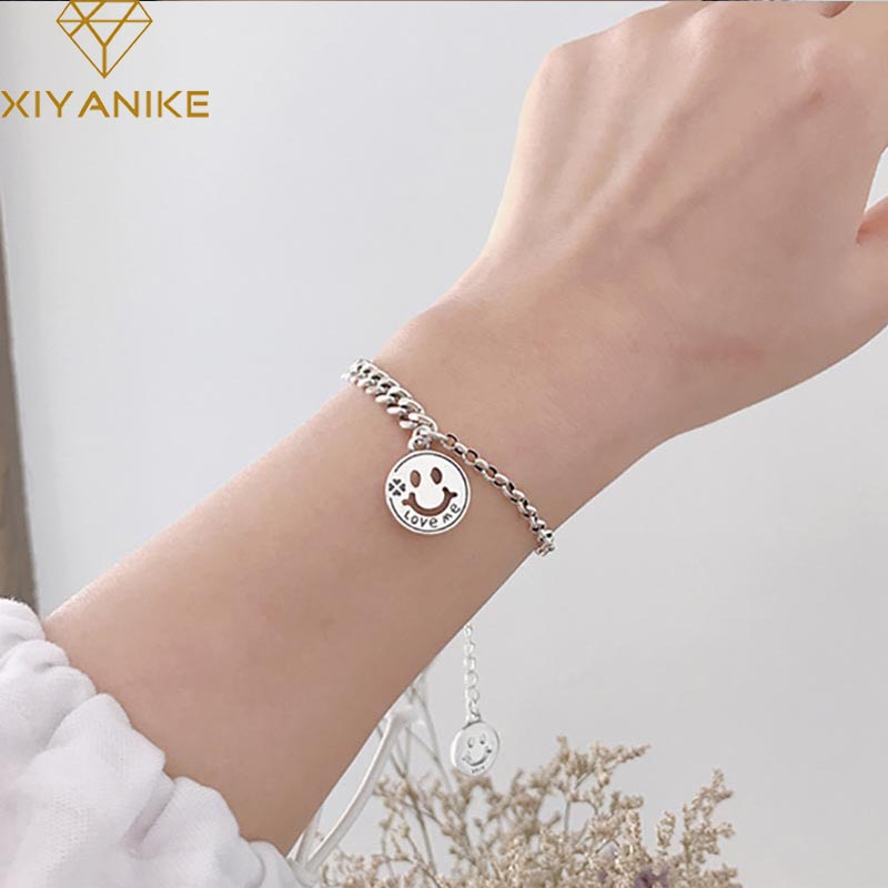 XIYANIKE 925 Sterling Silver Vintage Smiling Face Pendant Handmade Bangles & Bracelet For Women Couple Party Jewelry Adjustable