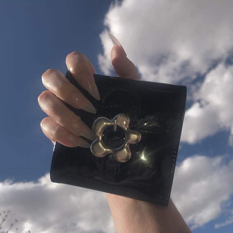 Sunflower Kawaii Cute Metal Flower Snap PU Bright Leather Wallet Sweet Mini Purse