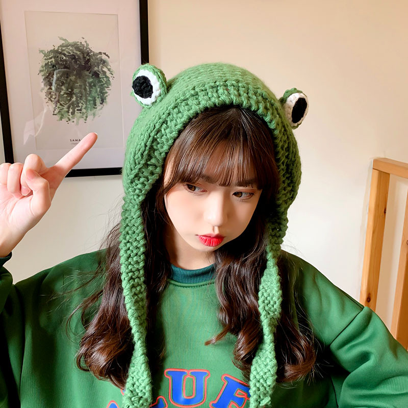 Fashion Frog Hat Beanies Knitted Winter Hat Solid Hip-hop Skullies Knitted Hat Cap Costume Accessory Gifts Warm Winter Bonnet