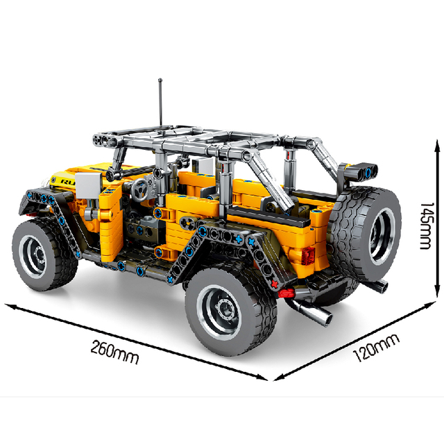 MOC 601pcs Classic Car City Pull Back Off-road SUV Car Building Blocks Bricks Model High-Tech Vehicle DIY Toys for Kids Gifts 2