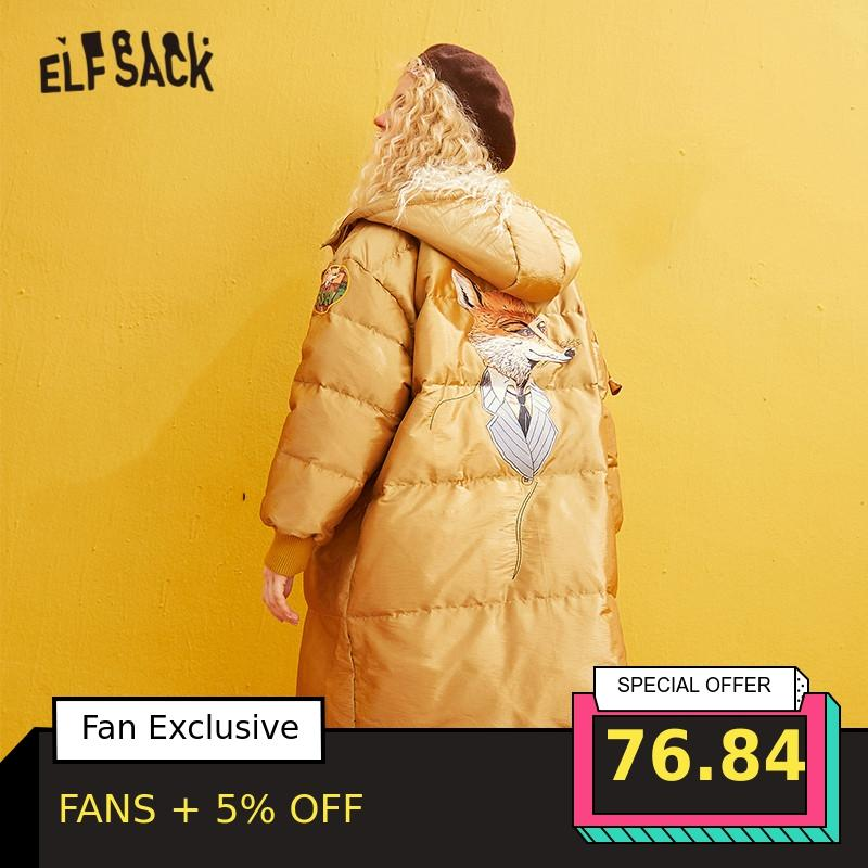 ELFSACK Yellow Solid Satin Fox Applique Straight Warmness Coats Women 2019 Winter Zipper Embroidery Korean Female Basic Outwears