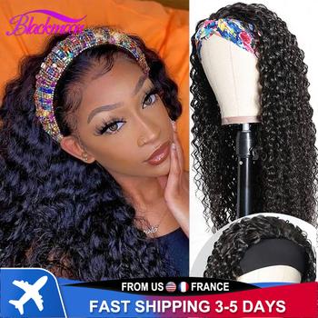 Brazylijskie kręcone włosy z pałąkiem na głowę peruka bezklejowy szalik Remy ludzki włos peruki dla czarnych kobiet pełna maszyna wykonana peruka początkujący przyjazny tanie i dobre opinie BLACKMOON HAIR CN (pochodzenie) Włosy remy Jerry curl Brazylijskie włosy średni rozmiar Fit for all size head 3-7 working days