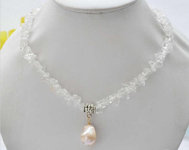 "916 + + + 16 ""14mm x 18mm Rosa barroco keshi perla colgante de cristal collar de detritus"