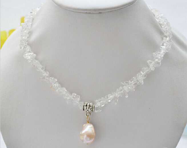 "916 +++16"" 14mmx18mm pink BAROQUE keshi PEARL pendant crystal detritus necklace"