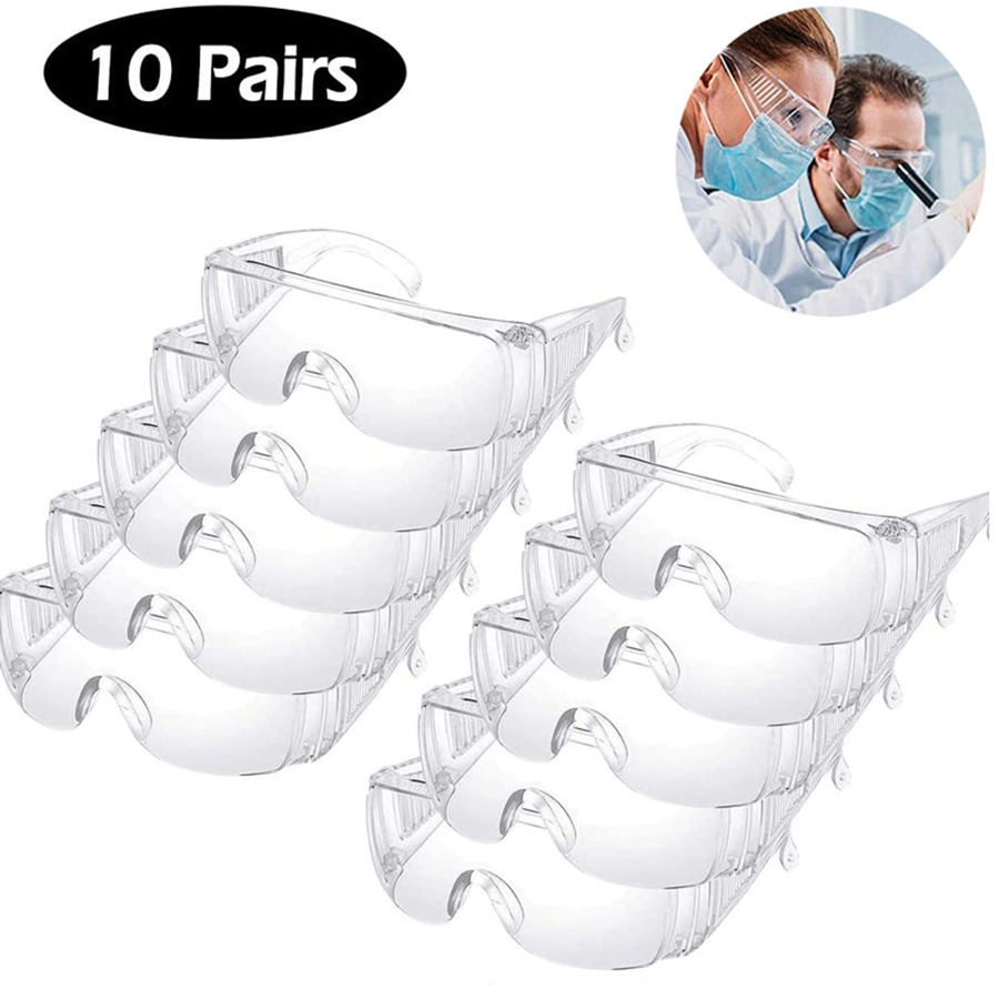 10PCS Transparent Safety Goggles Protective Safety Glasses Anit-Splash Dust-Proof Sand Work Lab Eyewear Spectacles Protection