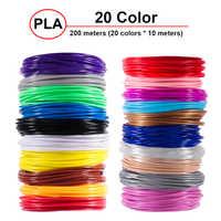 Plástico para bolígrafo 3D 20 colores 5 metros 10 metros PLA 1,75mm 3D impresora filamento impresión 200M PLA accesorios para extrusor partes