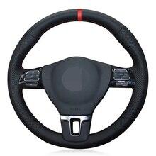 Bricolaje negro Cuero Artificial suave protector para volante de coche para Volkswagen VW Gol Tiguan Passat B7 Passat CC Touran Jetta Mk6