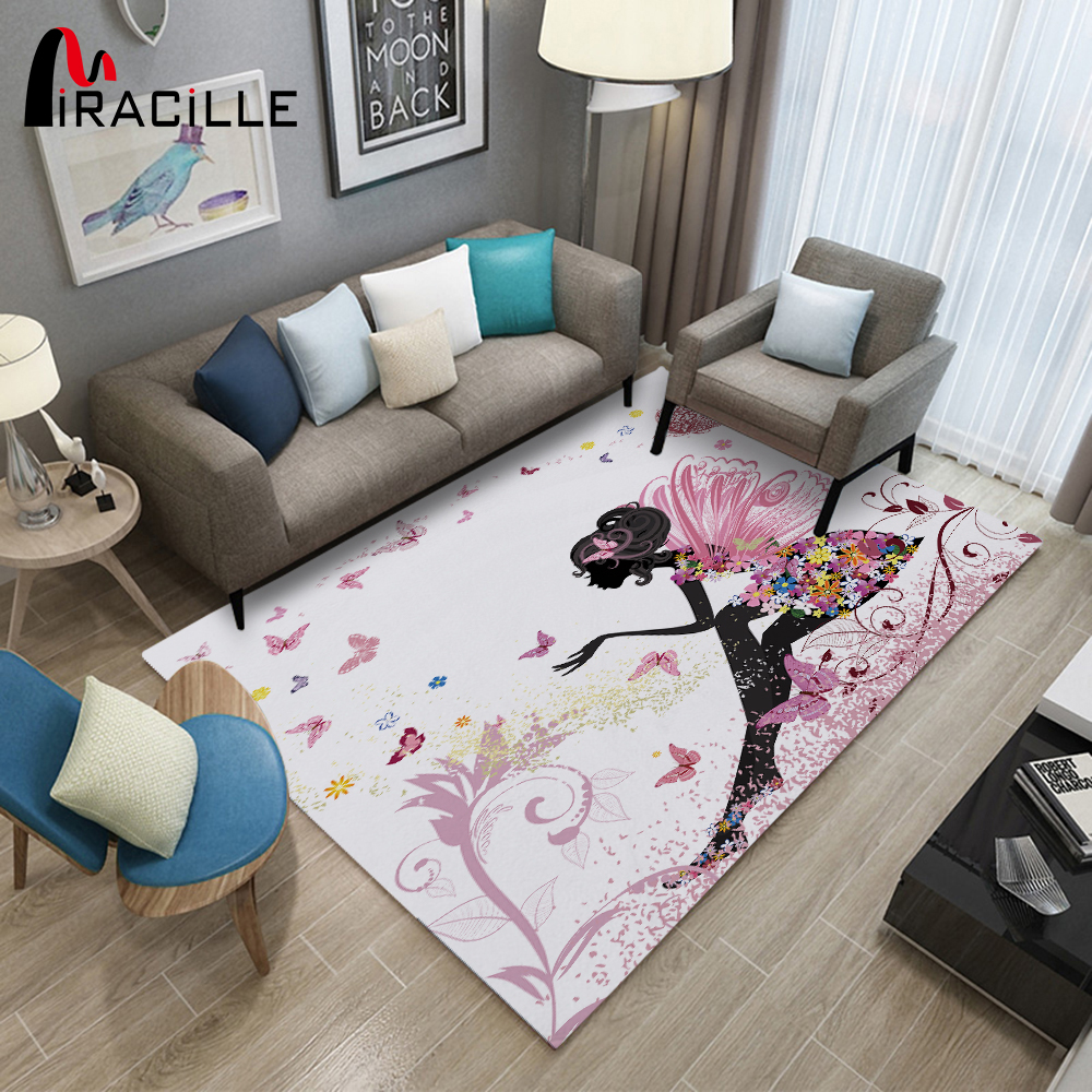 Miracille Fairy Pattern Modern Carpet For Girls Bedroom Decoration Anti-slip Play Floor Mat