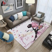 Alfombra moderna con dibujo de hada para niñas, decoración de dormitorio, antideslizante, para suelo de juego
