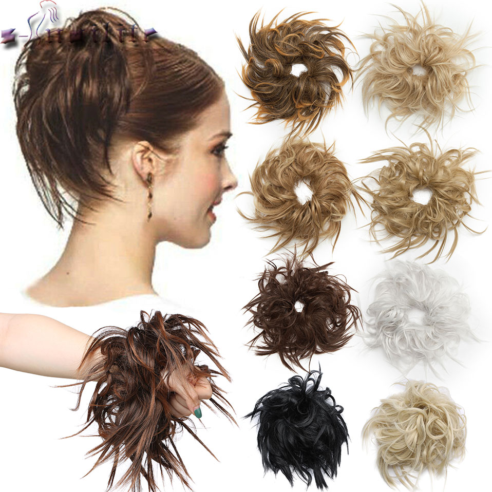 S-noilite 7 Inch Messy Bun Tousled Hairpiece Elastic Band Chignon Hair Curly Scrunchie Updo Cover Synthetic Hairpiece For Women