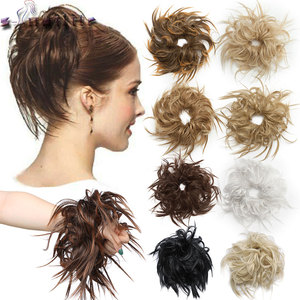 S-noilite 7 Inch Messy Bun Tousled hairpiece Elastic Band Chignon hair Curly Scrunchie Updo Cover Synthetic Hairpiece for women(China)