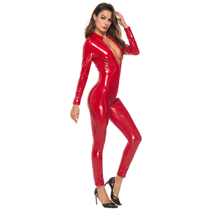 Image 2 - Sexy lateks wygląd Catsuit Faux Leather Cat kobiety kombinezony body z długim rękawem Zip otwórz Crotch Romper kostium Plus rozmiar