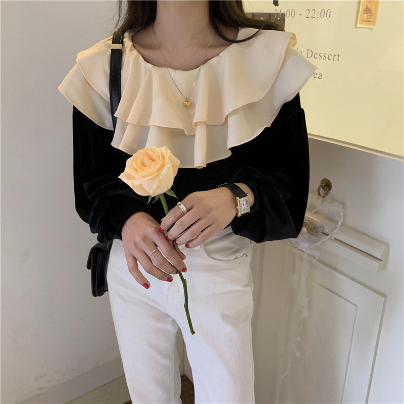 Alien Kitty Chic 2020 Sweet Women Velvet Shirt Color-Hit Fashion All-Match Loose Feminine Gentle Office Lady Cute Blouses