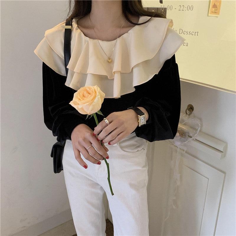 Alien Kitty Chic 2020 Sweet Women Velvet Shirt Color-Hit Fashion All-Match Loose Feminine Gentle Office Lady Cute Blouses