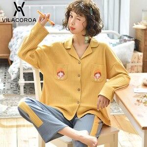 Image 3 - Dorywczo owocowy kieszonkowy kardigan na guziki kobiety Pijama Lapel z długim rękawem spodnie wygodna piżama dla kobiet dorywczo śliczna odzież domowa