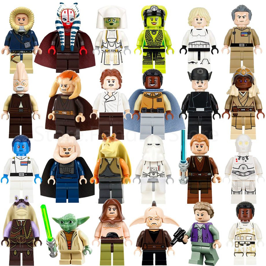 Single Sale Star Wars Figure Starwars K-3PO Yoda Ben Solo Finn Anakin Leia Gungan Malakili Even Piell Blinks Building Blocks Toy