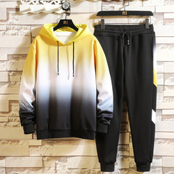 Men Sweat Suit Set 2019 Autumn New Young Students Handsome Fashion Casual Hooded Sweater Two-piece Men Sweat Suit