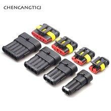 1 takım 1 2 3 4 5 6 Pin Way süper mühür AMP elektrik konnektörü otomotiv su geçirmez Xenon lamba erkek ve dişi fiş araba için