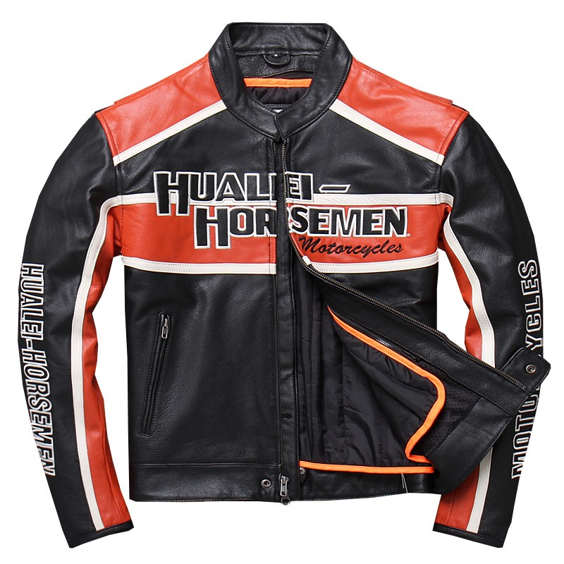 Factory 2019 New Men Genuine Motorcycle Leather Jacket Fashion 3D Embroidery Cowhide Riding Biker Jackets Russia Winter Coats