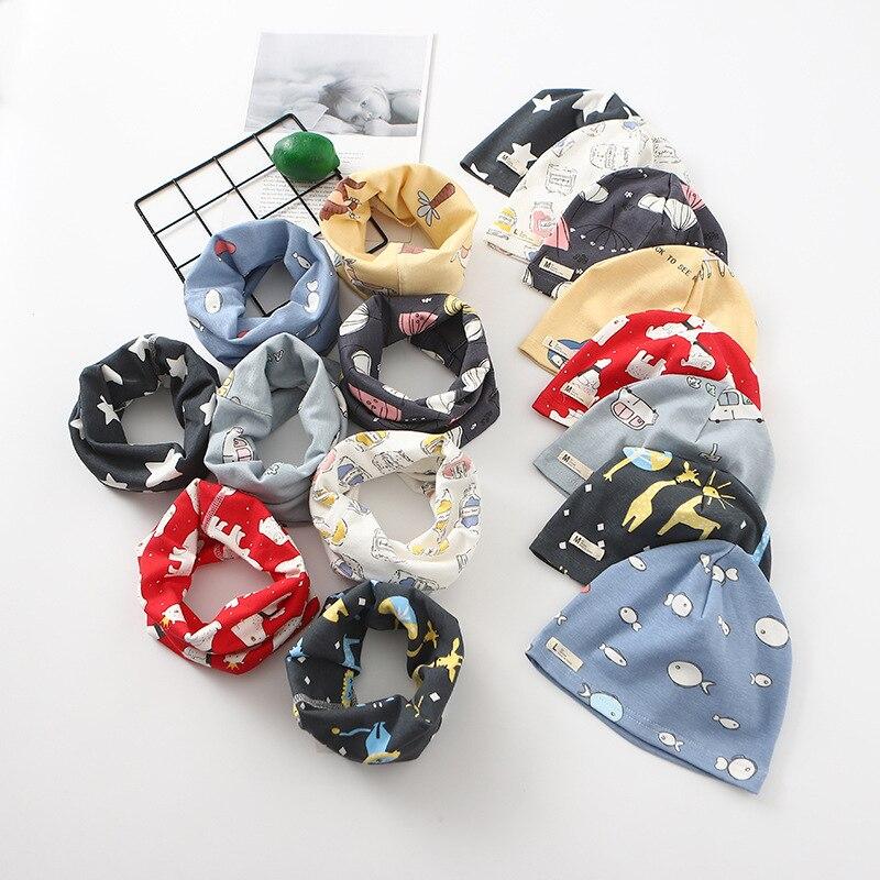 Cartoon Strip Print Baby O Ring Collar Hat Sets Boys Girls Scarves Beanies Suits Children Neckerchief Accessories Plush Warm