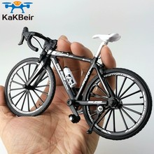 KaKBeir-Bicicleta de aleación de Metal fundido a presión para niños, modelo 1:10, bicicleta de montaña de juguete, juguete de carreras, carretera curva, colección de juguetes para niños