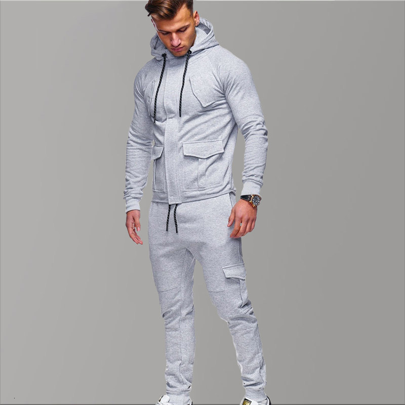 3XL Hoody Grey Tracksuit Men 2019 Brand Sportswear Hoodies Male Trendy Tracksuit Sets Men Gold Sport Shirts Autumn Winter Set