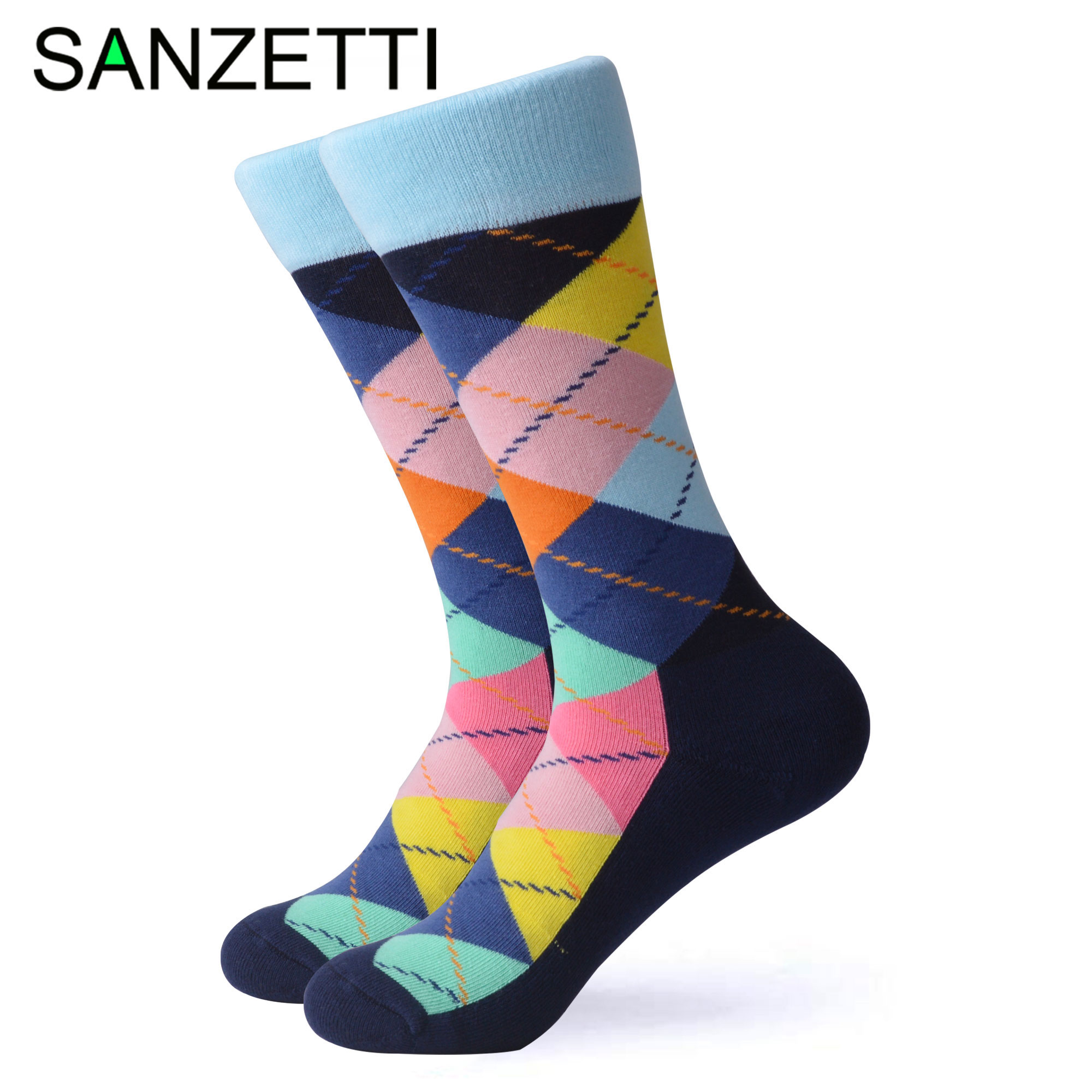 SANZETTI 1 Pair Happy Terry Socks High Quality Men's Colorful Comfortable Combed Cotton Bright Novelty Fun Wedding Dress Socks