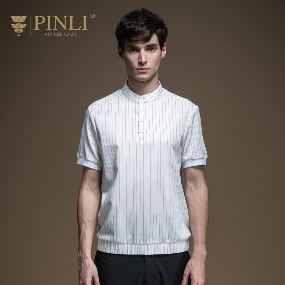 Pinli 2020 Summer New Slim Regular Pullover Striped Elastic Waist Polyester Casual Men's Short-sleeved Shirt B202113170