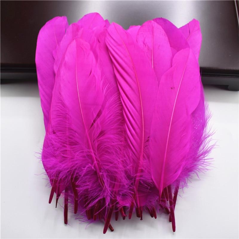 Жесткий полюс, натуральные гусиные перья для рукоделия, 5-7 дюймов/13-18 см, самодельные ювелирные изделия, перо, свадебное украшение для дома - Цвет: Rose
