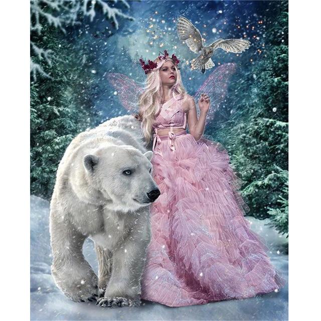 Diamant broderie hiver elfes ours 5d diamant peinture pleine ronde diamant mosaïque image de strass point de croix