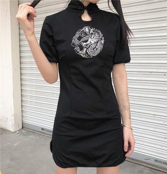 Haftowany cheongsam chińska sukienka dla kobiet Casual Dragon Party Qipao Gothic Streetwear Vestidos azjatyckie ubrania kawaii dla dziewcząt tanie i dobre opinie COTTON Tkane Embroidery Cheongsam S M L Dress Black Women Casual Streetwear Party Asian Clothes Dress For Girl Gothic Style
