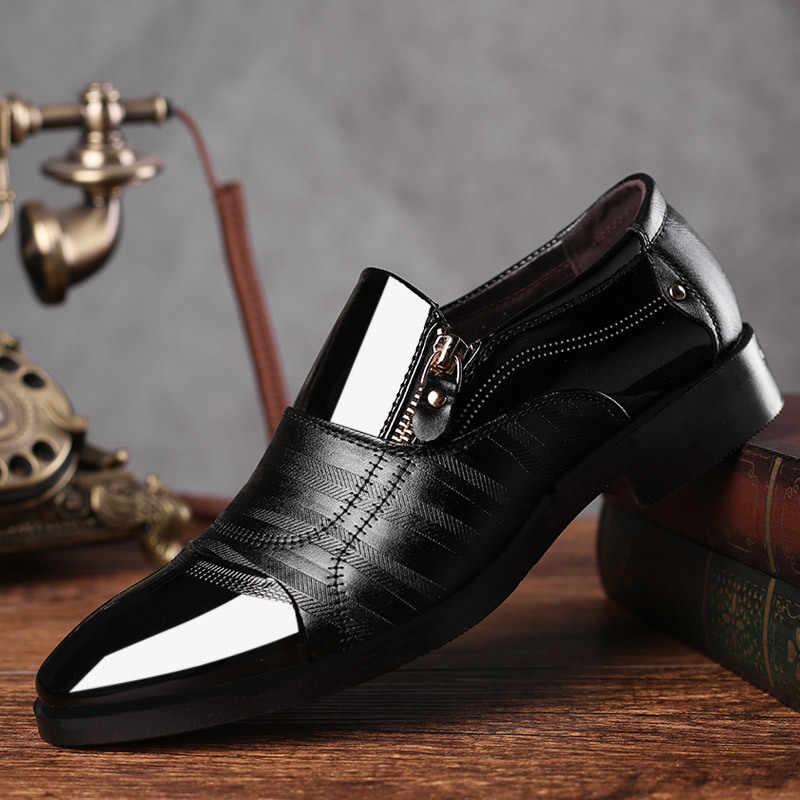 Mazefeng Clássico dos homens de Negócios Vestido Sapatos Da Moda Elegantes Sapatos de Casamento Formal Homens Deslizar Sobre sapatos Escritório Sapatos Oxford Para Homens preto
