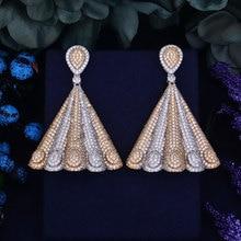 GODKI Luxury Popular Peacock Tail Full Mirco Pave Crystal Zircon Earrings Engagement Wedding Drop Earring Fashion Jewelry