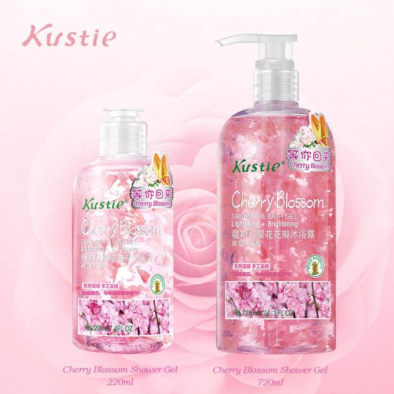 Kustie вишня для мытья тела натуральный органический отбеливающий безопасный для тела осень зима увлажняющий семейный набор гелей для душа 220 мл+ 720 мл