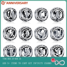 CodeMonkey A to Z Alphabet 925 Sterling Silver Bead Letter Charm Fit Original   Bracelets Pendant DIY Jewelry Making C738